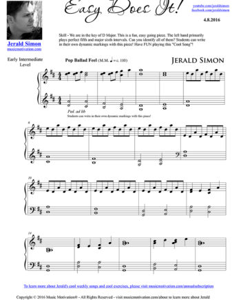 Easy Does It - FREE PDF Piano Music by Jerald Simon - published by Music Motivation