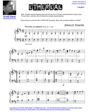 Ethereal - FREE PDF Piano Music by Jerald Simon - published by Music Motivation