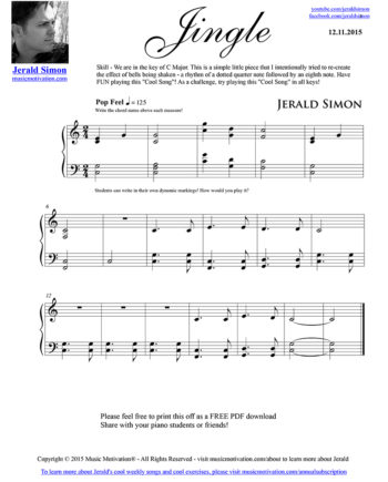 Jingle - FREE PDF Piano Music by Jerald Simon - published by Music Motivation