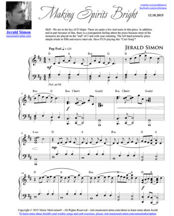 Making Spirits Bright - FREE PDF Piano Music by Jerald Simon - published by Music Motivation