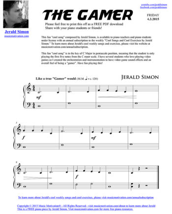 The Gamer - FREE PDF Piano Music by Jerald Simon - published by Music Motivation