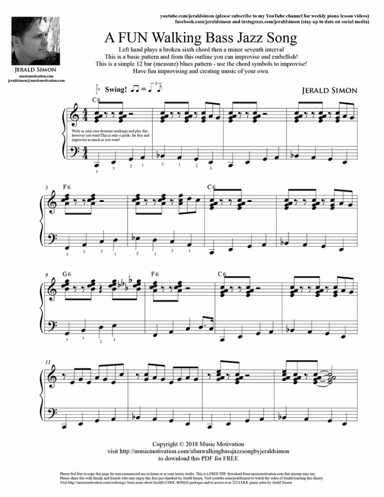 Motivate piano students with a simple walking bass jazz left hand pattern by Jerald Simon - Music Motivation (visit musicmotivation.com)